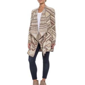 Lucky Brand Intarsia Beige Cardigan Sweater Small